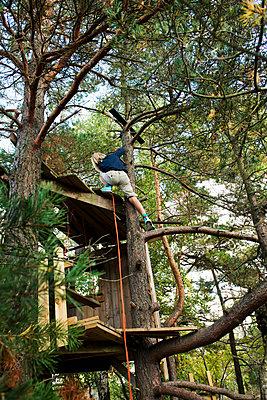 Boy in a tree house - p352m2039823 by Julia Sjöberg