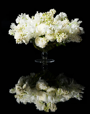 Bouquet of White Lilac and Persian Buttercup Flowers - p669m824016 by Ben Miller