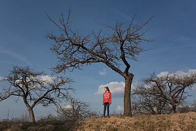Mädchen steht unter einem Baum - p1308m2280067 von felice douglas