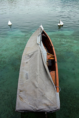 Covered boat on the Lake d'Annecy - p813m1119124 by B.Jaubert