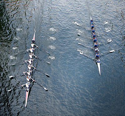 High angle view of two Eights rowing on river. - p1100m1570940 by Mint Images
