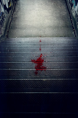 subway steps with blood - p1280m2077191 by Dave Wall