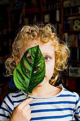 Boy looking through green leaf - p300m2277180 by Irina Heß