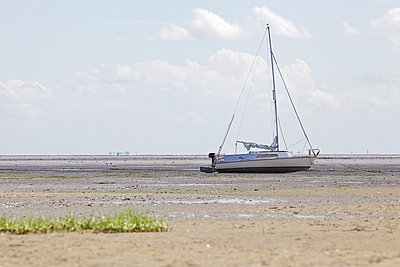 Sailing boat at low tide - p606m890789 by Iris Friedrich