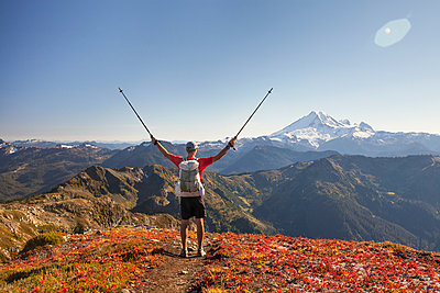 Backpacker Exploring Mount Baker While Hiking In North Cascades National Park - p343m1218066 by Christopher Kimmel