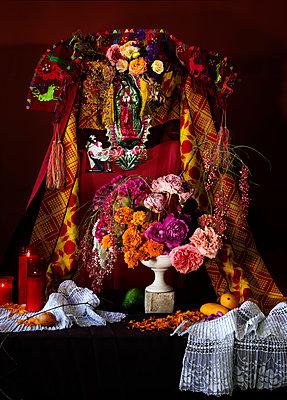 Feast of Corpus Christi, Decorated altar - p1371m2181722 by virginie perocheau