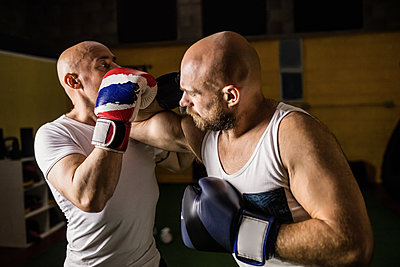 Two boxer practicing boxing in fitness studio - p1315m1198935 by Wavebreak
