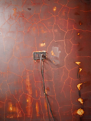 Old wall, socket and power cable - p300m1029179f by Pascal Miller