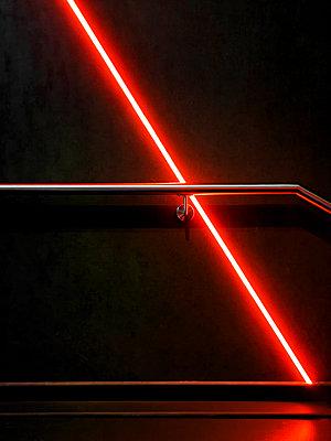 Neon light in dark corridor - p1280m2044196 by Dave Wall