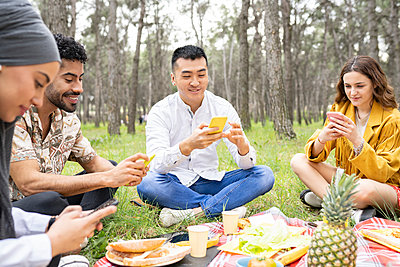 group of multiracial friends getting together to celebrate a party in the forest, on a picnic, Madrid / Spain - p300m2282006 von Jose Carlos Ichiro