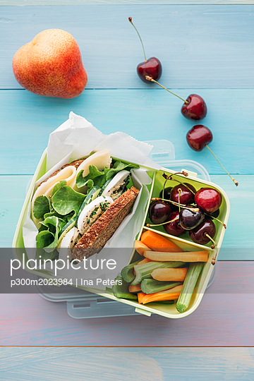 Healthy school food in a lunch box, vegetarian sandwich with cheese, lettuce, cucumber, egg and cress, sliced carrot and celery, cherries and pear - p300m2023984 von Ina Peters