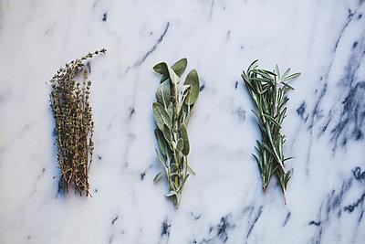 Overhead view of various herbs on marble - p1166m1545154 by Cavan Social