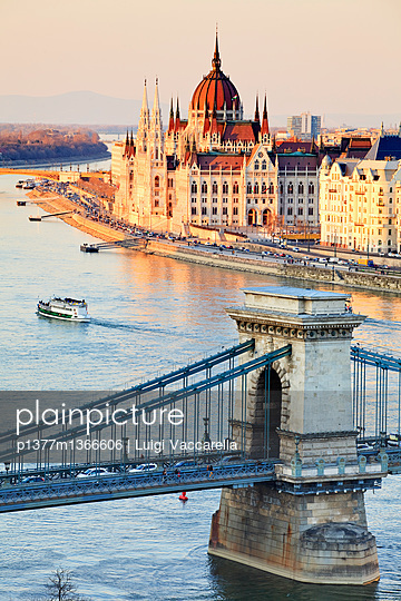 View from Buda Castle over the Danube river, Chain Bridge (Szechenyl Lanchid) and Parliament - p1377m1366606 by Luigi Vaccarella