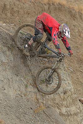 Mountain Biker Going Downhill - p3070925f by Masakazu Watanabe
