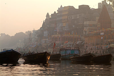 Boats on Ganges river - p7230004 by Thomas Spenner