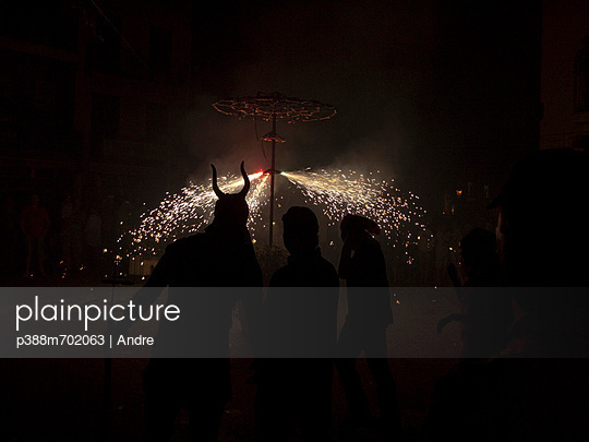 People with fireworks at night - p388m702063 by Andre