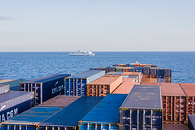 Cruise ship and container ship - p1157m1041466 by Klaus Nather