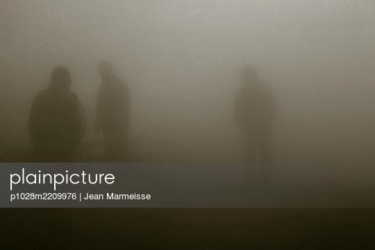 Silhouettes in steam, Deildartunguhver hot spring, Iceland - p1028m2209976 by Jean Marmeisse