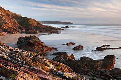 Looking east from Freathy Point over Whitsand Bay towards Rame Head, Cornwall, England, United Kingdom, Europe - p871m711399 by Adam Burton