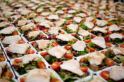 Dishes of salad arranged in rows - p30120275f by Andreas Schlegel
