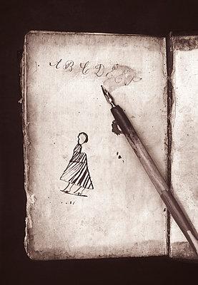 School book and pencil - p971m987163 by Reilika Landen