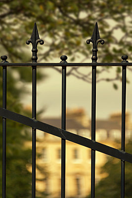 Wrought Iron Gate in Front of Mansion - p1331m1169218 by Margie Hurwich