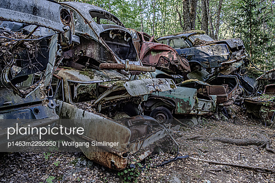 Wrecked cars in a forest, Sweden - p1463m2292950 by Wolfgang Simlinger