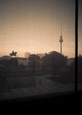 View of the Television Tower from a window, Berlin, Germany - p1062m1172155 by Viviana Falcomer