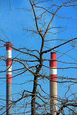 Factory chimneys - p813m808940 by B.Jaubert