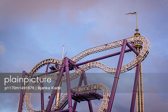 Roller coaster in amusement park - p1170m1491679 by Bjanka Kadic