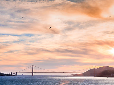 Golden Gate Bridge at sunset - p1280m1477446 by Dave Wall