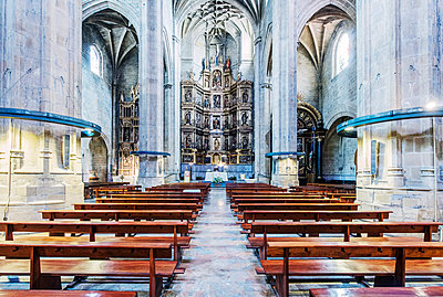 Pews and arches in ornate church - p555m1306080 by Spaces Images