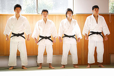 Members of a Judo Dojo Lined Up - p3070545f by Score. by Aflo