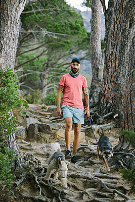 South Africa, Man walking dogs - p1640m2246188 by Holly & John