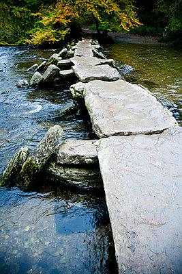 The Tarr Steps, a prehistoric clapper bridge across the River Barle, Exmoor National Park; Somerset, England - p442m999984 by Naki Kouyioumtzis