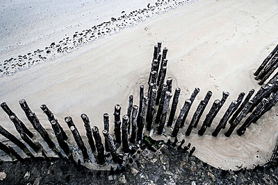 France, Lancieux view to wooden stakes on the beach from above - p300m1205527 by Jo Kirchherr