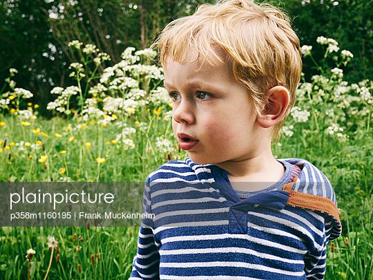 Blonder Junge in einer Wiese - p358m1160195 von Frank Muckenheim