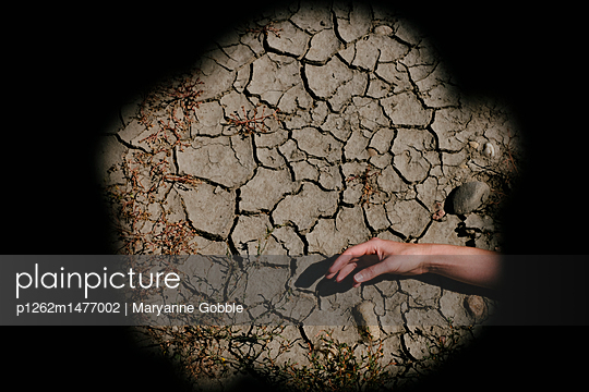 Cracked Soil and Hand - p1262m1477002 by Maryanne Gobble