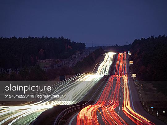 Germany, Bavaria, Light trails on the highway - p1275m2229446 by cgimanufaktur