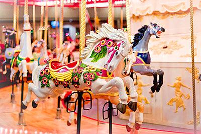 Merry-go-round horse carousel; British Columbia, Canada - p442m1086625 by Lorna Rande