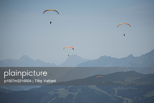 France, Aravis, Paragliding in the Alps - p1007m2216504 by Tilby Vattard