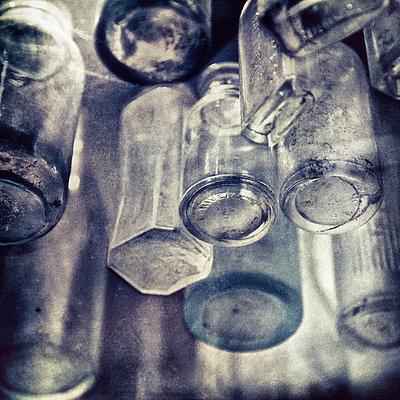 Floating bottles - p1154m945651 by Tom Hogan