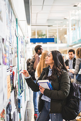 Young female student reading posters in university - p426m2194817 by Maskot