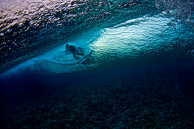 Surfer underwater  - p416m1056844 by Andy Fox