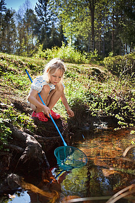 Girl fishing with net in creek - p42916131f by Christoffer Askman