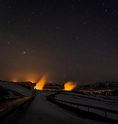 Nesjavellir in Iceland at night - p1084m833018 by Operation XZ