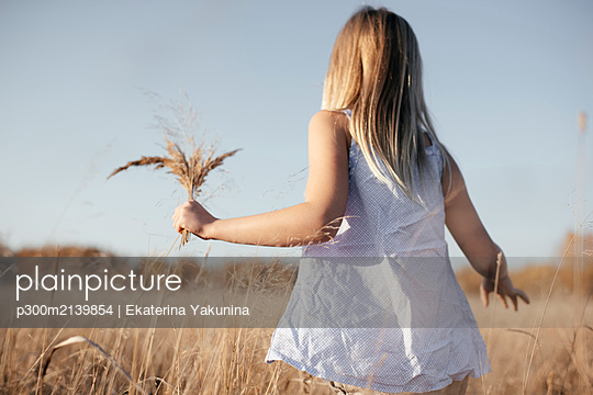 Back view of little girl collecting grasses on autumnal meadow - p300m2139854 by Ekaterina Yakunina