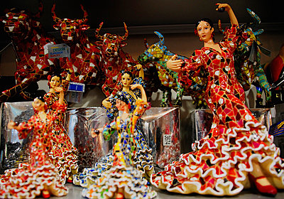 Display of Gaudi style china doll flamenco dancers and Spanish bulls in Barcelona - p1072m829355 by Neville Mountford-Hoare
