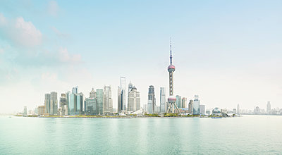 View of Shanghai skyline - p1342m1332669 by Sebastian Burgold