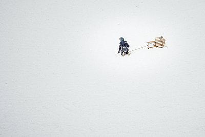 Kleinkind mit Schlitten im Schnee - p1549m2245179 von Sam Green